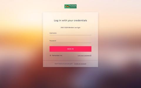 Screenshot of Login Page ggea.net - Login – GGEA - captured Sept. 28, 2018