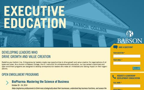 Screenshot of Landing Page babson.edu captured Oct. 27, 2014
