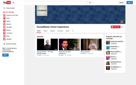 Screenshot of YouTube Page youtube.com - HouseMaster Home Inspections  - YouTube - captured Oct. 23, 2014
