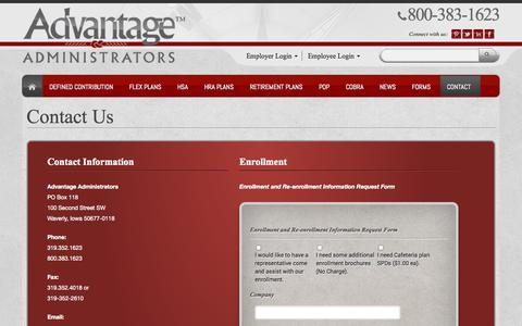 Screenshot of Contact Page advantageadmin.com - Contact - Advantage Admin - captured Oct. 4, 2014
