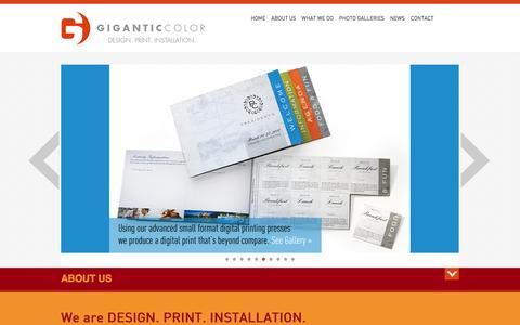 Screenshot of Home Page giganticcolor.com - Large Format Digital Printing - Dallas, TX - Gigantic Color - captured July 13, 2016