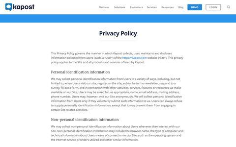 Screenshot of Privacy Page kapost.com - privacy policy - Kapost | The B2B Marketing Platform - captured April 7, 2017
