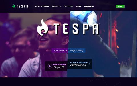 Screenshot of Privacy Page Login Page tespa.org - The Leader in College Esports - Tespa - captured Dec. 20, 2019