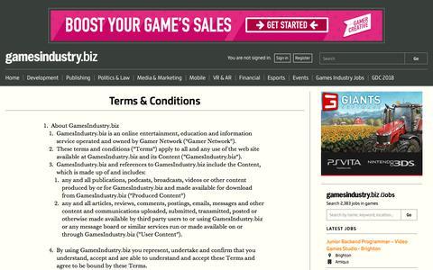 Screenshot of Terms Page gamesindustry.biz - Terms & Conditions   GamesIndustry.biz - captured May 4, 2018