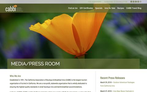 Screenshot of Press Page cabbi.com - CABBI | California Bed & Breakfast Inns - captured Sept. 26, 2018