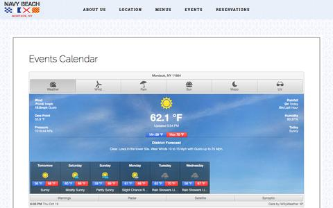 Screenshot of Hours Page navybeach.com - Events Calendar | Navy Beach - captured Oct. 19, 2017