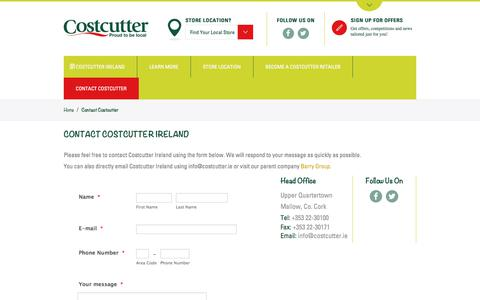 Screenshot of Contact Page costcutter.ie - Contact Costcutter - Costcutter - captured Aug. 26, 2017