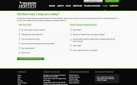 Screenshot of FAQ Page warrenjensen.com - PPC Agency and SEO Frequently Asked Questions | Warren Jensen - captured Oct. 8, 2014