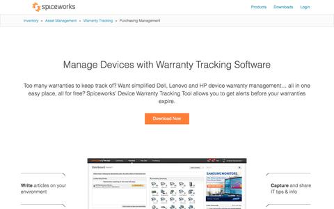 Spiceworks Dell Warranty and HP Warranty Management Software
