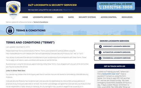 Screenshot of Terms Page lockssafesalarms.com - Terms & Conditions - Colorado Security Products - captured Sept. 28, 2018