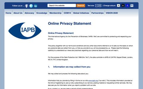 Screenshot of Privacy Page iapb.org - Online Privacy Statement | International Agency for the Prevention of Blindness - captured Oct. 6, 2014