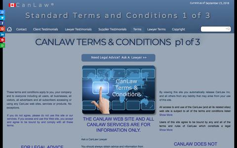 Screenshot of Terms Page canlaw.com - Contact us CanLaw binding terms and conditions CanLaw contacts - captured Sept. 23, 2018