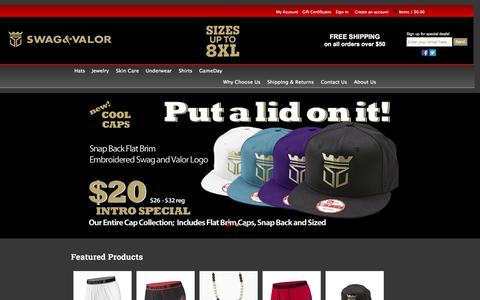 Screenshot of Home Page swagandvalor.com - Swag &Valor - Fashion underwear for Big & Tall Men - captured Oct. 7, 2014