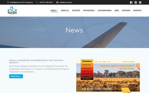 Screenshot of Press Page tourone.de - News - TourOne Systems - captured Oct. 20, 2018