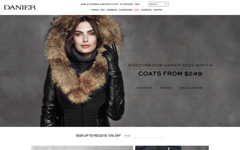 Screenshot of Home Page danier.com - Danier Official Store | Leather Jackets, Bags & Accessories - captured Oct. 22, 2015
