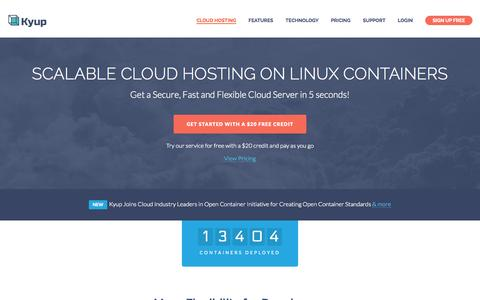 Screenshot of Home Page kyup.com - Scalable Cloud Hosting on Linux containers - captured Nov. 3, 2015