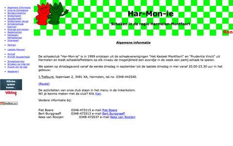 Screenshot of Home Page har-mon-ie.nl - Har-Mon-ie, Schaken in de regio Harmelen - Montfoort - captured Oct. 12, 2015