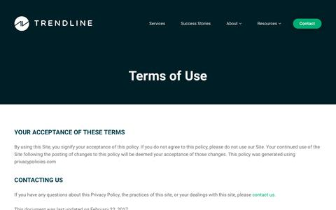 Screenshot of Terms Page trendlineinteractive.com - Terms of Use - captured Oct. 20, 2018