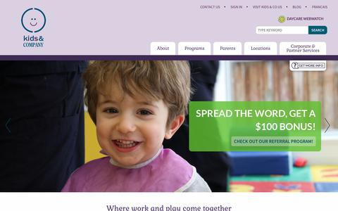 Screenshot of Home Page Locations Page kidsandcompany.com - Kids & Company | Where work and play come together - captured Dec. 20, 2018