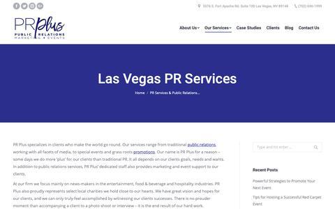Screenshot of Services Page prpluslv.com - PR Services | Public Relations Services Las Vegas, NV · PR Plus - captured Dec. 13, 2018