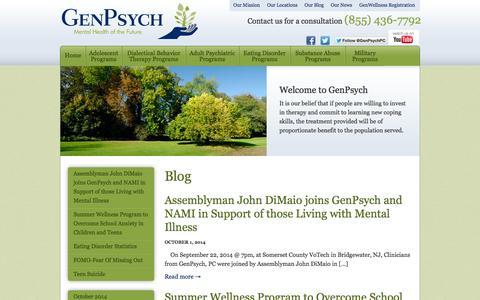 Screenshot of Blog genpsych.com - Practice News | GenPsych - captured Oct. 2, 2014