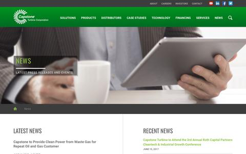 Screenshot of Press Page capstoneturbine.com - News :: Capstone Turbine Corporation (CPST) - captured June 28, 2017