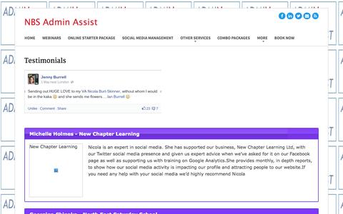 Screenshot of Testimonials Page nbsadminassist.com - Testimonials - NBS Admin Assist - captured Oct. 10, 2014