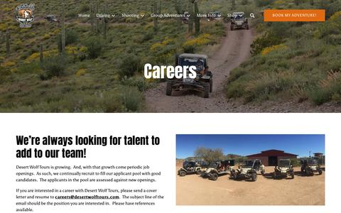 Screenshot of Jobs Page desertwolftours.com - Careers | Desert Wolf Tours - captured Nov. 6, 2018