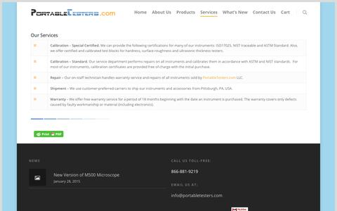 Screenshot of Services Page portabletesters.com - Services – PortableTesters.com LLC - captured Sept. 28, 2018
