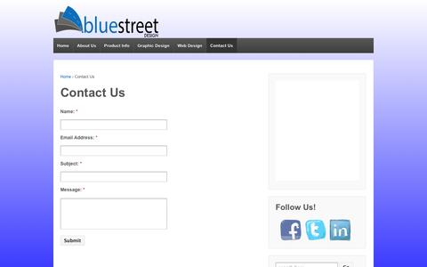 Screenshot of Contact Page bluestreetdesign.com - Contact Us | Blue Street Design - captured Sept. 30, 2014