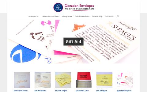 Screenshot of Home Page donation-envelopes.co.uk - Donation envelopes, Gift Aid Envelopes, Sequi® - captured Oct. 9, 2018