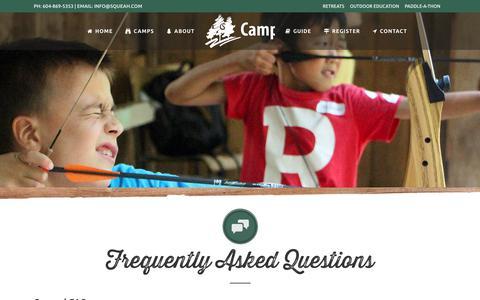 Screenshot of FAQ Page squeah.com - FAQs | Camp Squeah Summer Programs - captured July 14, 2017