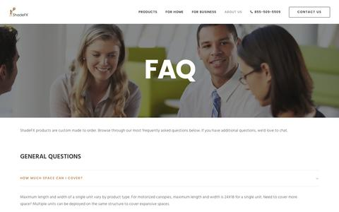 Screenshot of FAQ Page shadefxcanopies.com - Frequently Asked Questions - ShadeFX - captured May 10, 2017