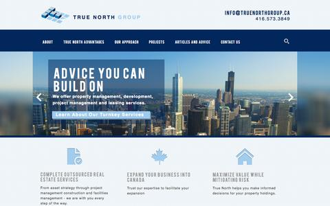 Screenshot of Home Page truenorthgroup.ca - True North Group | Commercial Real Estate Development - captured Oct. 9, 2014