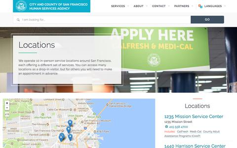 Screenshot of Locations Page sfhsa.org - Locations | San Francisco  Human Services Agency - captured Feb. 24, 2018