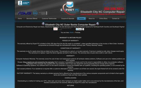 Screenshot of Privacy Page expertpcnc.com - Expert PC Computer Repair Elizabeth City NC - Policies - captured Oct. 3, 2014