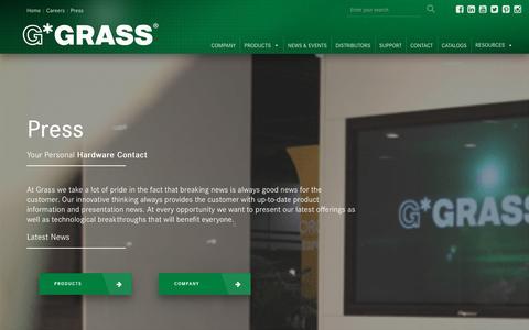 Screenshot of Press Page grassusa.com - Press | Movement Systems For The Kitchen & Bath | Grass USA - captured Sept. 30, 2018