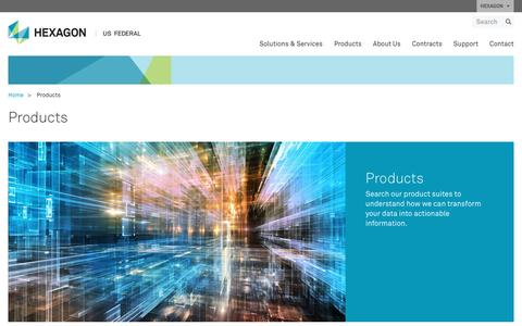 Screenshot of Products Page hexagonusfederal.com - Products | Hexagon US Federal - captured May 27, 2017