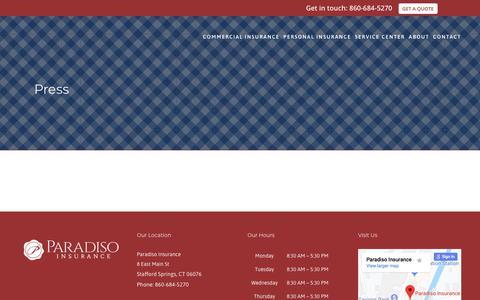 Screenshot of Press Page paradisoinsurance.com - Press & Awards | Paradiso Insurance - captured July 7, 2019
