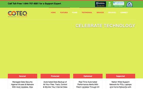 Screenshot of Home Page consumerteq.com - COTEQ | Technology Uninterrupted - captured Sept. 25, 2018