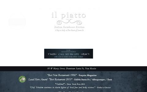 Screenshot of About Page Contact Page Press Page ilpiattosantafe.com - il piatto santa fe - captured Oct. 6, 2014