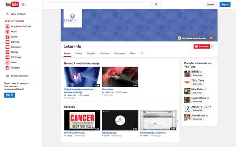Screenshot of YouTube Page youtube.com - Lekar Info  - YouTube - captured Oct. 22, 2014
