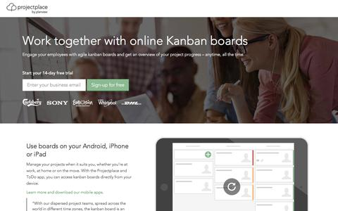 Screenshot of Landing Page projectplace.com - Kanban board enterprise - Active - captured Dec. 15, 2016