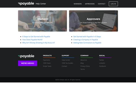 Screenshot of Support Page payable.com - Payable Help Center - captured April 6, 2016