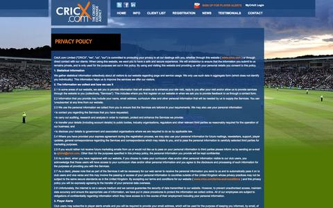 Screenshot of Privacy Page cricx.com - Privacy Policy - captured Oct. 3, 2014