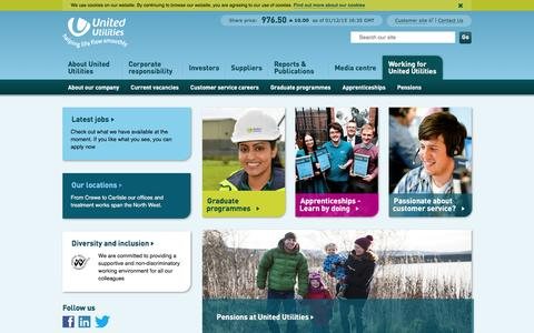 Screenshot of Jobs Page unitedutilities.com - Working for United Utilities |  United Utilities - captured Dec. 1, 2015