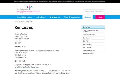 Screenshot of Contact Page workingfamilies.org.uk - Working Families     Contact us - captured Jan. 26, 2018