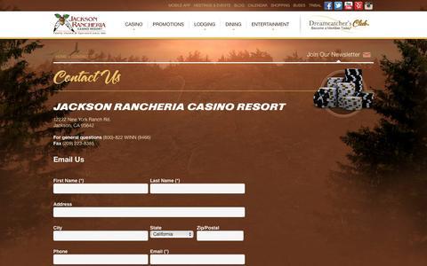 Screenshot of Contact Page jacksoncasino.com - Contact Us - captured Sept. 19, 2014