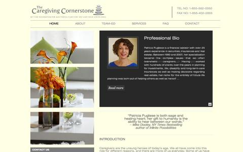 Screenshot of Home Page caregivingcornerstone.com - The Caregiving Cornerstone | Set the Foundation for Masterful Care for You and Your Loved Ones - captured Sept. 29, 2014