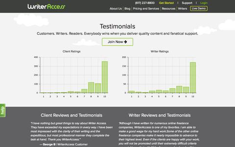 Screenshot of Testimonials Page writeraccess.com - WriterAccess Reviews and Testimonials - Content Marketing Services - captured Oct. 1, 2015
